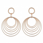 Statement Fashion Jewellery: Long Rose Gold Earrings with Dangly Diamond-Cut Wire Circles (5.5cm x 4.3cm) (YK154)