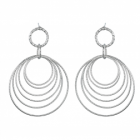 Statement Fashion Jewellery: Long Silver Earrings with Dangly Diamond-Cut Wire Circles (5.5cm x 4.3cm) (YK176)