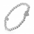 Simple Costume Jewellery: Delicate Silver Beaded Bracelet with Crystal Heart (M177)