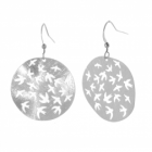 Unique Fashion Jewellery: Scratch Effect Earrings with Cut-Out Birds (5 cm x 3cm) (M144)