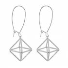 Contemporary Fashion Jewellery: Silver 3-D Shape Earrings (60mm x 20mm) (M155)
