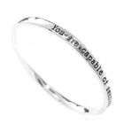 """You Are Capable Of Amazing Things"" Inspiring Silver Quote Bangle"