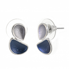 Contemporary Fashion Jewellery: Matt Grey and Blue Double Teardrop Stud Earrings (1.8cm x 1cm) (R708)