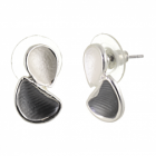 Contemporary Fashion Jewellery: Matt Grey and White Double Teardrop Stud Earrings (1.8cm x 1cm) (R517)