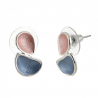 Contemporary Fashion Jewellery: Matt Pink and Blue Double Teardrop Stud Earrings (1.8cm x 1cm) (R442)