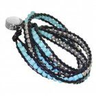 Boho Fashion Jewellery: Multi-Stranded Festival Style Inspired Bracelet with Silver and Turquoise Tone Beading (M195)