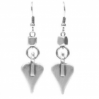 * Danon Jewellery: Silver Signature Heart Drop Earrings with Cube Detail (Full Drop 48mm / Heart 20mm x 15mm)