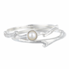 Rustic Two Piece Sterling Silver Stacking Ring With Pearl
