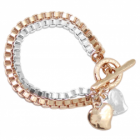 NL SALE: Statement Danon Jewellery: Rose Gold and Silver Chunky Box Chain Bracelet With Loveheart Charms (DS40)