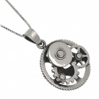 Quirky Sterling Silver Jewellery:Clockwork Steampunk Pendant with Cogs, Wheels and Gears Design (22mm Diameter) (N407)