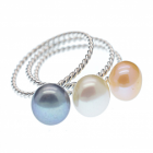 SALE Sterling Silver Stacking Ring Trio With Freshwater Pearls (SL215)