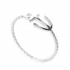 Nautical Sterling Silver Sideways Anchor Ring with Twisted Band