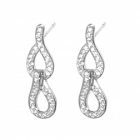 Bridal Sterling Silver Jewellery: Beautiful Sparkling hinged infinity Crystal drop Earrings (25mm x 8mm) (E148)