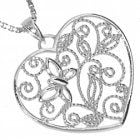NEW Beautiful Sterling Silver: Filigree Heart Pendant with Butterfly and Leaf Design (21mm Heart) (N7)