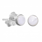 Simple Sterling Silver Jewellery: Micro (4mm) Mother of Pearl Dot Stud Earrings (E454)