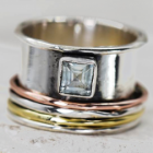 Statement Sterling Silver Jewellery: Multi-Tone Spinning Ring With Square Blue Topaz