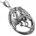 Statement Sterling Silver Jewellery: Large Oxidised Dragon Pendant (34mm Diameter) (N3)