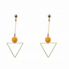 Quirky Fashion Jewellery: Gold Triangle Earrings with Brown Neoprene Coated Bead Detail (Full Length 7cm) (M258)