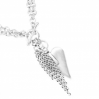 LAST ONE Danon Jewellery: Double Chain Tasseled Necklace with Large Signature Heart