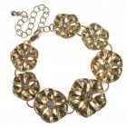 Floral Fashion Jewellery: Gold Floral Bracelet with Crystal Detailing