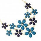 SALE Fashion Jewellery: Blue Tone Floral Necklace (S51) (S51BLUE)