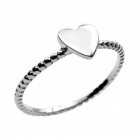 Sterling Silver Jewellery: Textured Stacking Ring With Heart