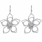 Sterling Silver Outline Flower Earrings (29mm Diameter) (E26)