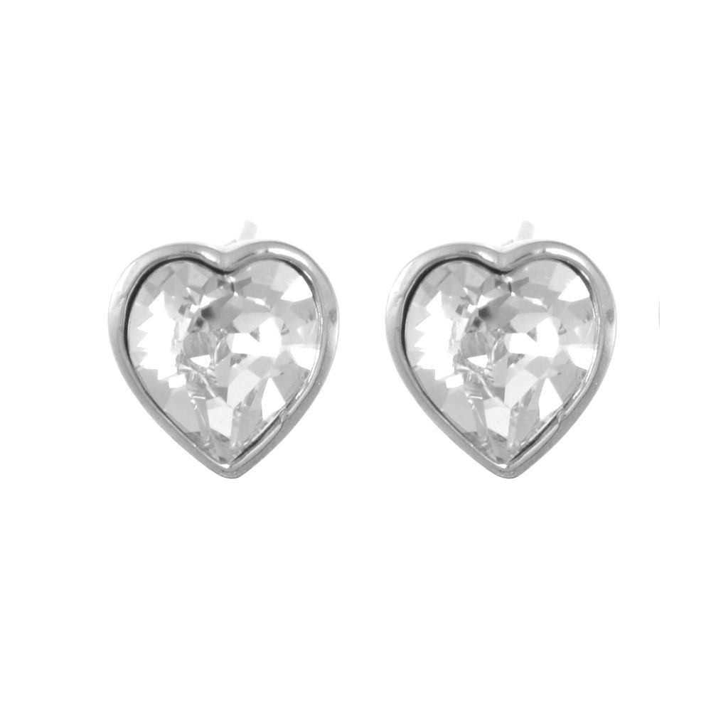 100% quality quarantee better price super service Sterling Silver Jewellery: Gorgeous Sparkly 10mm Loveheart Stud Earrings  with Swarovski Crystal elements (E507)