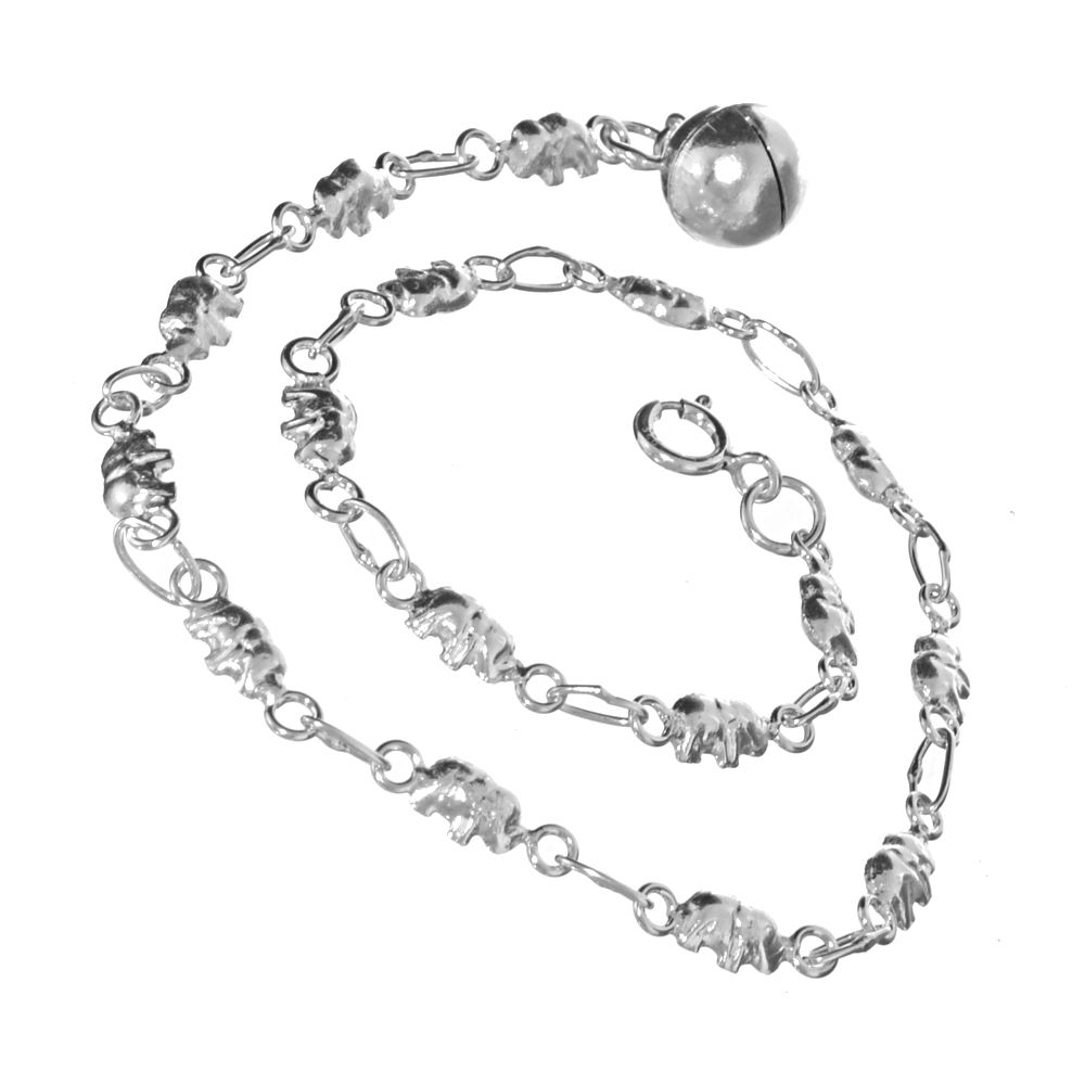 Online Exclusive Sale Price: Sterling Silver Quirky Elephant Beaded Anklet  (25 5cm) (B158)