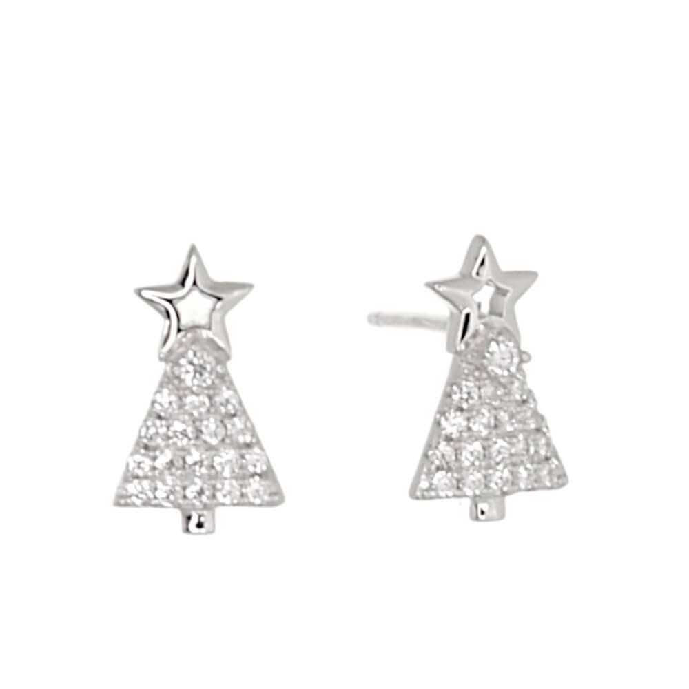 925 Sterling Silver Jewellery York Fashion Jewellery Festive Sterling Silver Jewellery Sparkly Christmas Tree Earrings With Star Ornament 7mm X 12mm E87 925 Sterling Silver Jewellery Range Of Fashion And Danon Jewellery