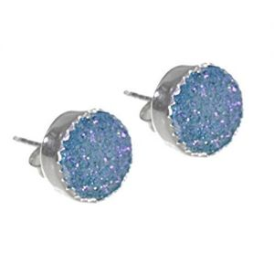 Beautiful Sterling Silver Jewellery: Pale Blue Round Druzy Stud Earrings (10.5mm) (E207)