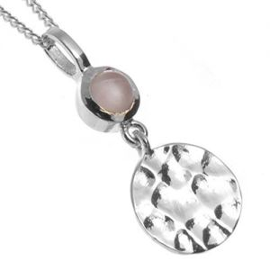 Elegant Sterling Silver Jewellery: Simple Rose Quartz and Hammered Disc Design (Full Pendant Length: 20mm) (N80)