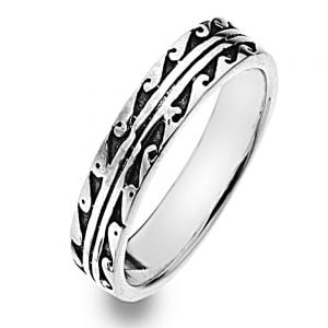 Elegant Sterling Silver Jewellery: Thin Band Ring with Oxidised Wave Design