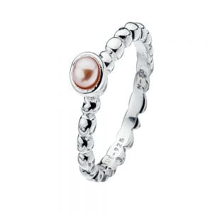 Heart Design Band: Sterling Silver Stacking Ring With Pink Pearl