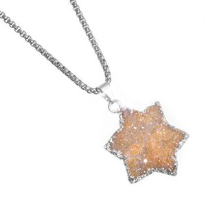 Rue B Sale: Stainless Steel Collection: Star-Shaped Orange Druzy Pendant on 50cm Chain (S500or)
