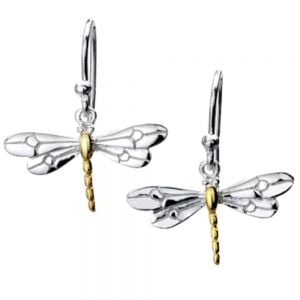 Sterling Silver Dragonfly Drops With Gold Detail