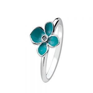 Cute Sterling Silver Stacking Ring With A Blue Enamel Forget-Me-Not
