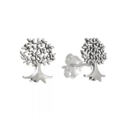 Sterling Silver Jewellery: Tiny Oxidised Tree Studs