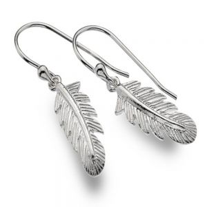Small Sterling Silver Textured Feather Drops