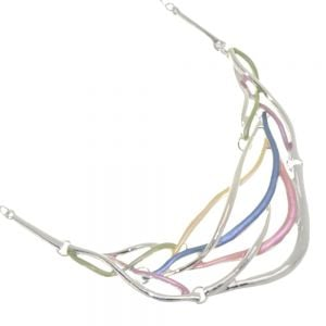 Statement Fashion Jewellery: Woven Design Necklace with Shiny Silver and Matt Pastel Rainbow Pieces