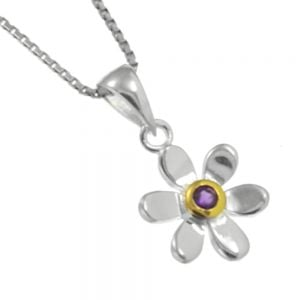 Pretty Sterling Silver and Gold Daisy Pendant with Purple Amethyst Centre (N134)D)