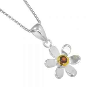 Pretty Sterling Silver and Gold Daisy Pendant with Garnet Gem Centre (N134)G)