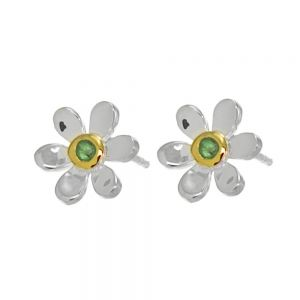 Pretty Sterling Silver and Gold Daisy Stud Earrings with Green Emerald Centre (E219)B)
