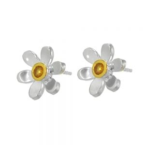 Pretty Sterling Silver and Gold Daisy Stud Earrings with Yellow Citrine Centre (E219)C)