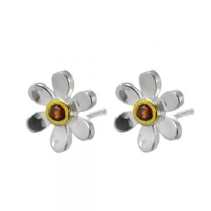 Pretty Sterling Silver and Gold Daisy Stud Earrings with Red Garnet Centre (E219)D)