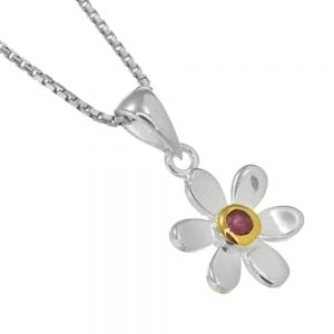 Pretty Sterling Silver and Gold Daisy Pendant with Ruby Gem Centre (N134)F)