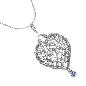 Pretty Sterling Silver Jewellery: Delicate Chain with Elaborate Swirl Filled Loveheart with Tiny Blue Opal Drop