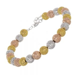 SALE Multi-Tone Sterling Silver Jewellery: Silver, Rose Gold and Gold Textured Bead Bracelet (17cm / 2cm Extension) (SL209)