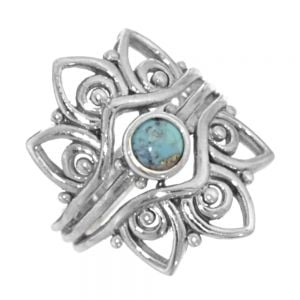 Chunky Flower Ring with Reconstructed Turquoise Centre