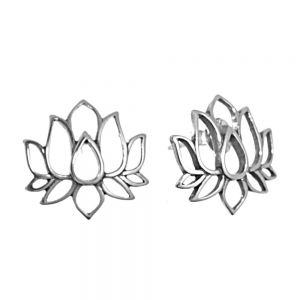 NEW Sterling Silver Jewellery: Lotus Outline Stud Earrings
